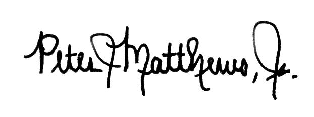Peter Matthews's signature