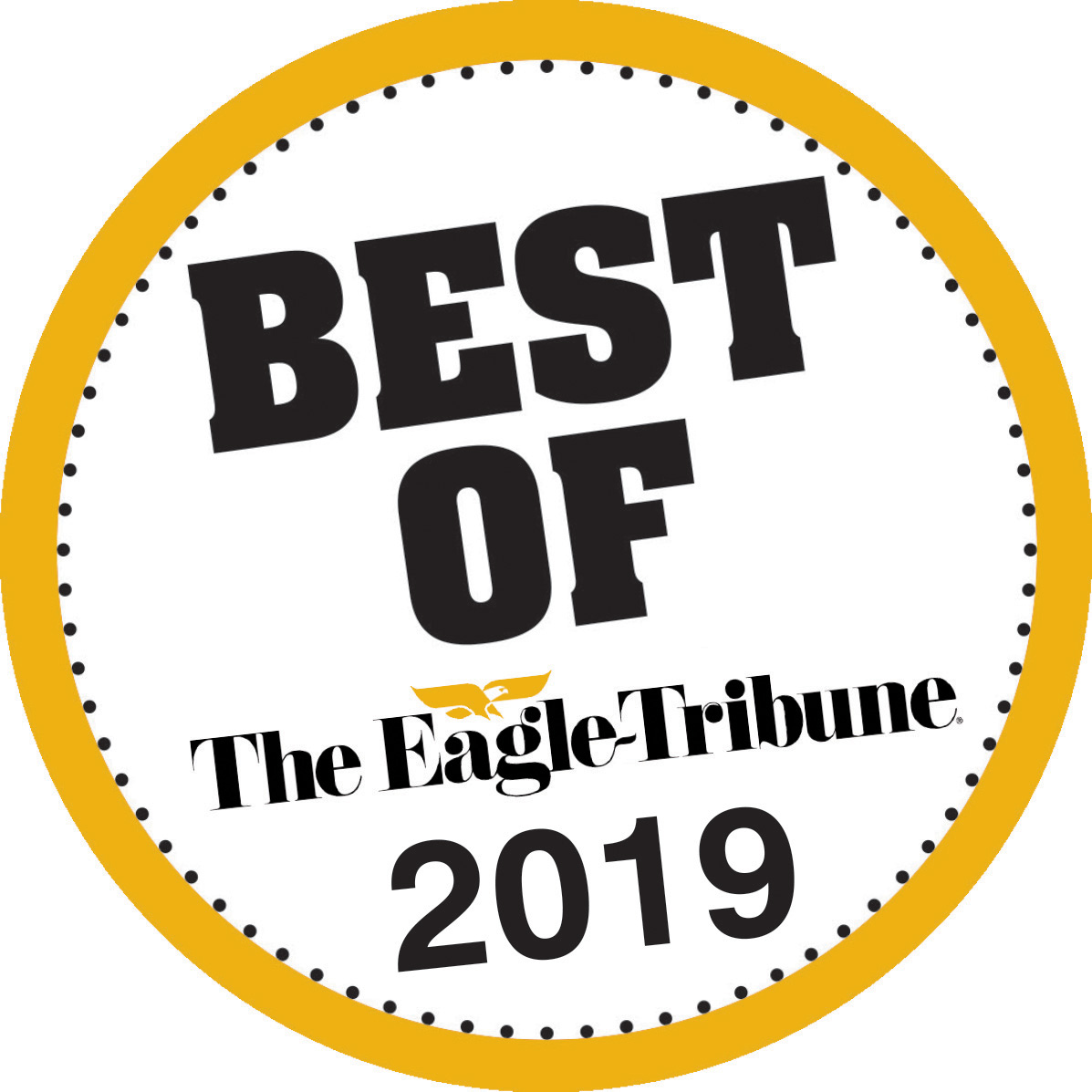 Gold circle with black dotted circle inside. Words: Best of The Eagle-Tribune 2019