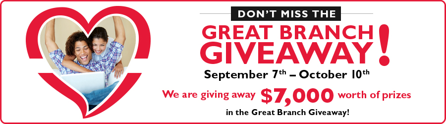 That's right, Merrimack Valley Credit Union is giving away $7,000 worth of prizes from September 7th through October 10th in the Great Branch Giveaway!