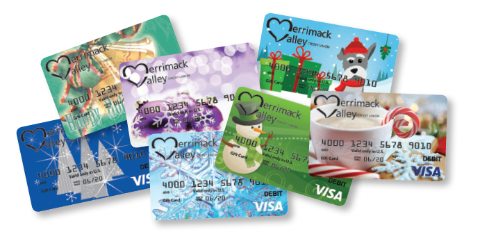 Seven different holiday designs for Visa Gift Cards