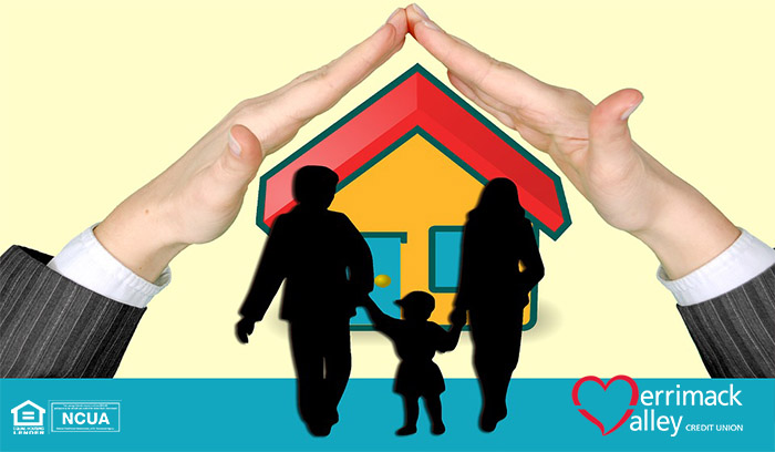 shadow of family standing in front of a house, with two giant hands covering the top of the roof