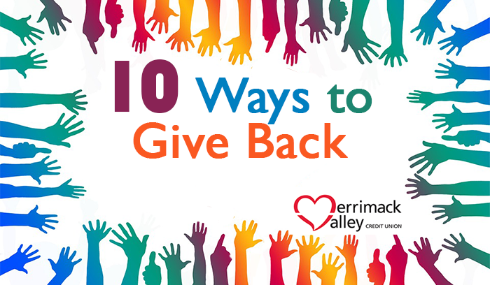 "colorful hands reach inward toward the words ""10 Ways to Give Back"""